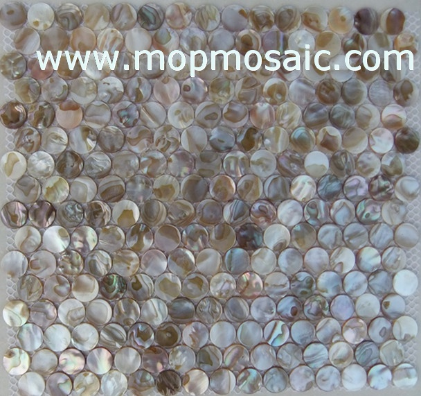 Rainbow dapple color freshwater shell mosaic(Round)