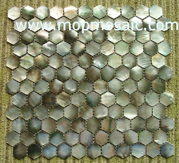 Hexagonal blacklip shell mosaic