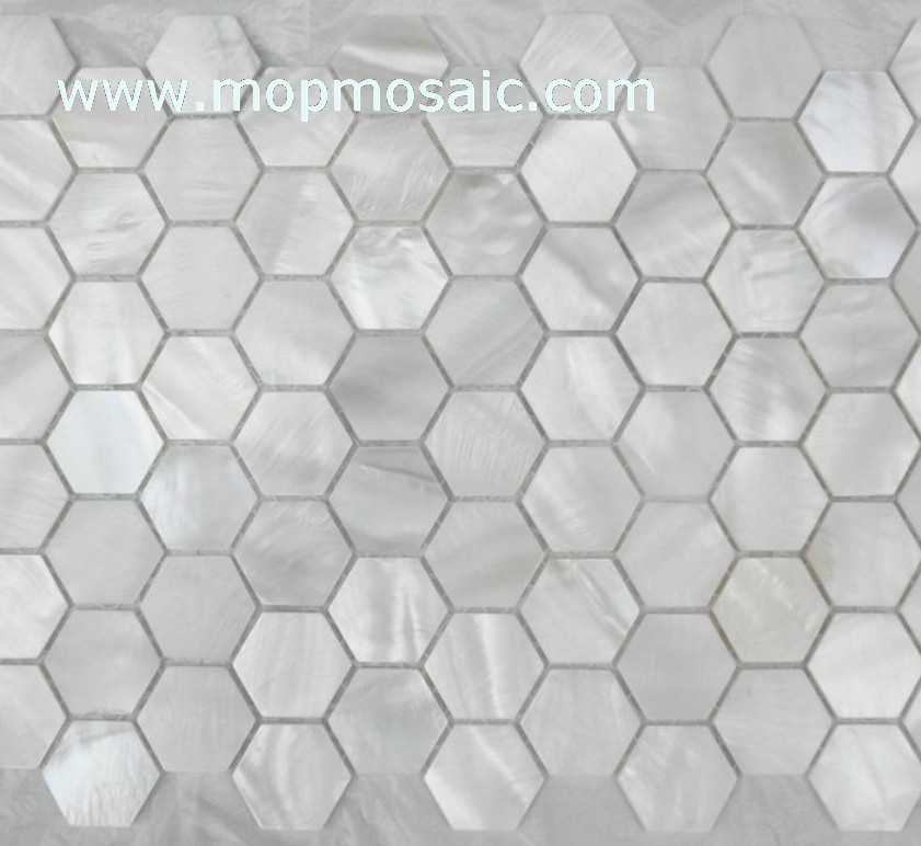 Hexagonal pure white shell mosaic(Straight angle )