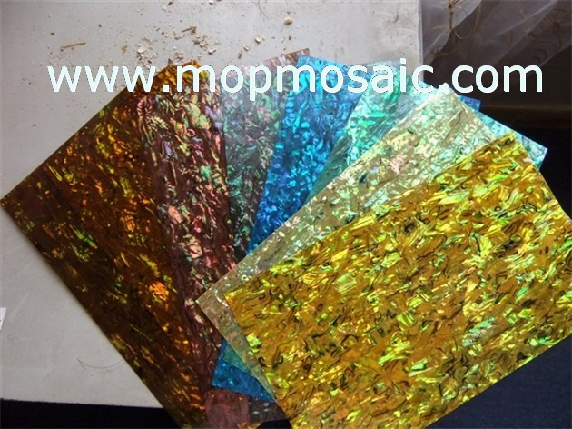Dyed golden abalone shell laminate