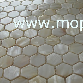 Hexagonal shape White freshwater shell mosaic