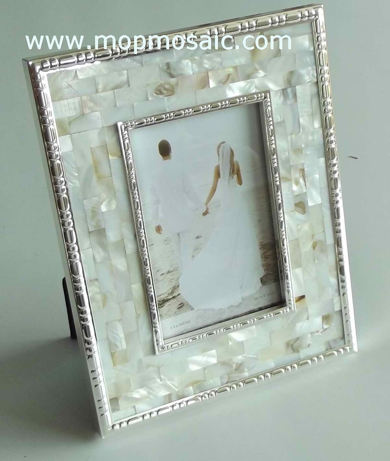 Natural color mother of pearl shell photo frame