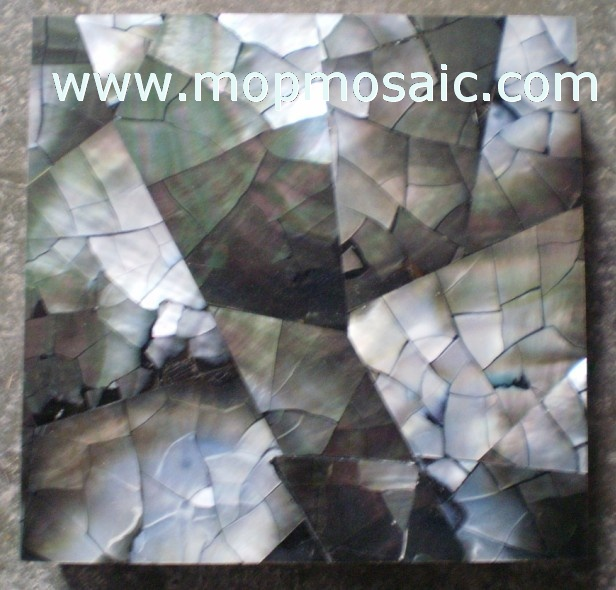 Irregular triangle and crack Blacklip Shell Tiles